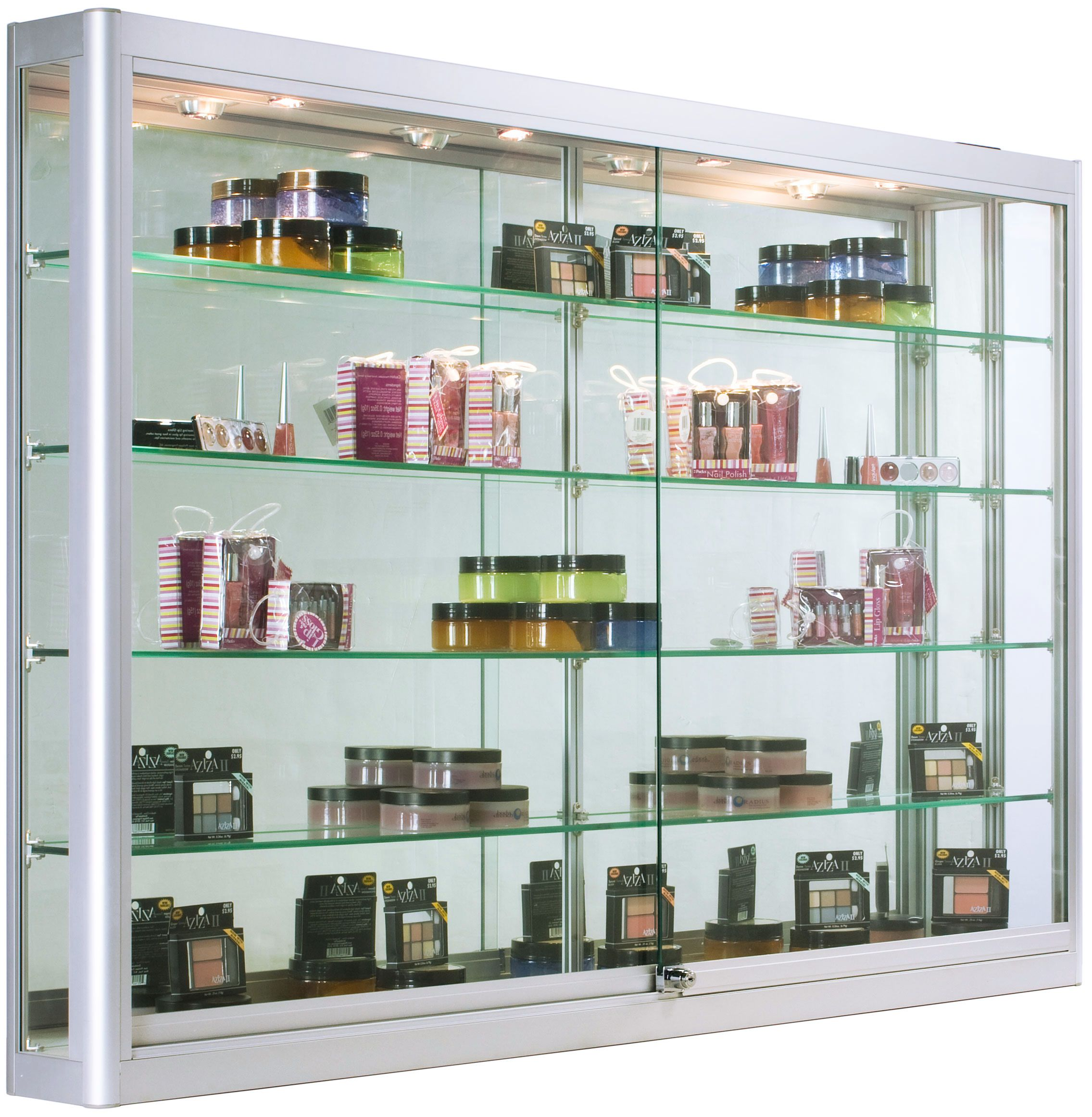 5ft Wall Mounted Display Case W 4 Top Led Lights Mirror Back Locking Silver Glass Cabinets Display Wall Mounted Display Case Wall Mounted Display Cabinets Glass display case with lights