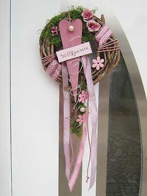 Photo of Find top offers for door wreath spring summer modern heart rose blossom …