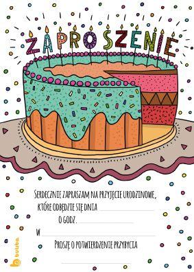 Zaproszenie Urodzinowe Do Wydruku Z Tortem Zaproszenie Na Urodziny
