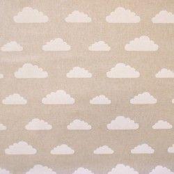 Tissu imitation lin imprimé nuages blanc sur fond naturel   Nos ...
