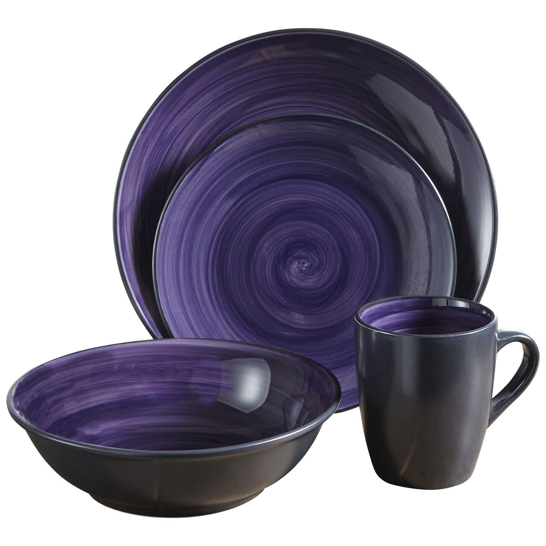 Fingerhut - McLeland Design 16-Pc. Stoneware Dinnerware Set - Purple/Black  sc 1 st  Pinterest & Fingerhut - McLeland Design 16-Pc. Stoneware Dinnerware Set - Purple ...