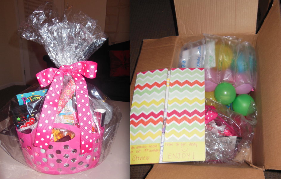 I made a gift basket for my best friend's 19th birthday