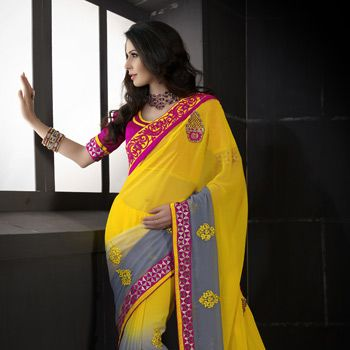 Shaded Yellow and Grey Faux Chiffon Saree with Blouse