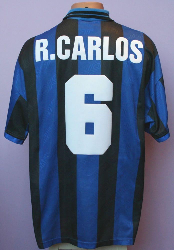 on sale c94b7 6912d R.CARLOS # 6 INTER MILAN 1995/1996 HOME SHIRT UMBRO PIRELLI ...