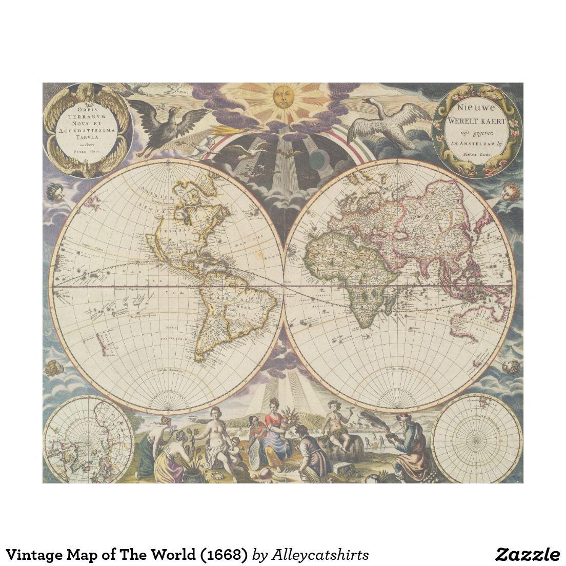 Vintage map of the world 1668 fleece blanket fleece blankets vintage map of the world 1668 fleece blanket gumiabroncs Images