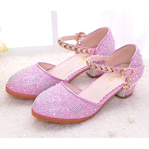 Fuchsia Beaded High Heel Pageant Girls Party Dress Mary Jane Shoes