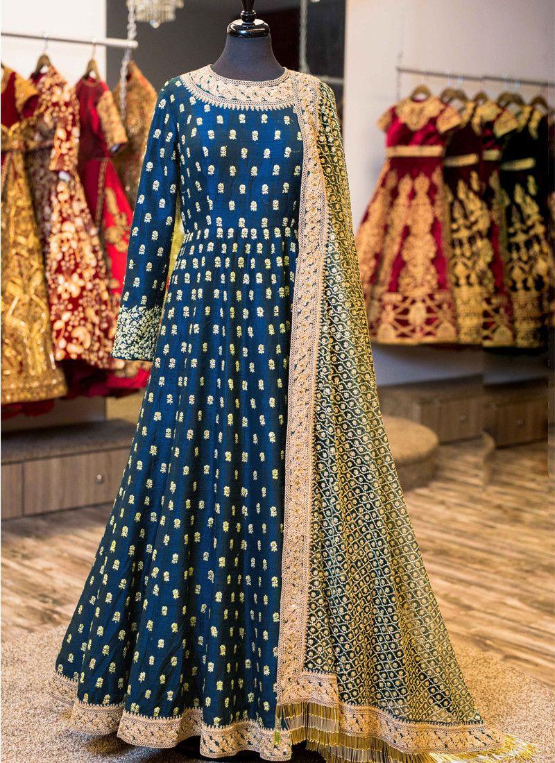 Royal blue banglori silk anarkali suit anarkalis pinterest