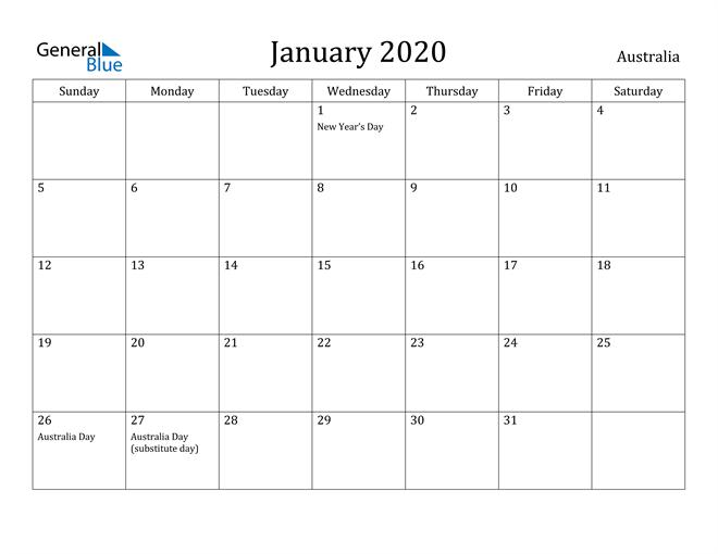 January 2020 Calendar For Australia With Holidays In 2020 Free Printable Calendar Calendar Australia Printable Calendar