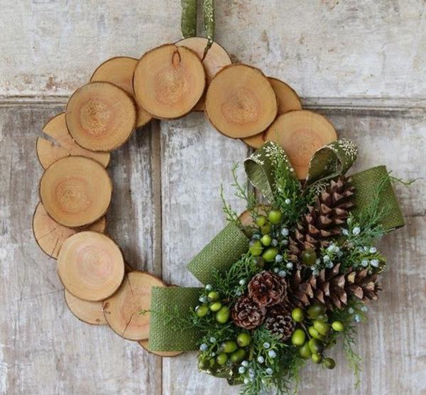 Türkranz Weihnachtsdeko Selber Basteln Holz Zapfen Tannengrün