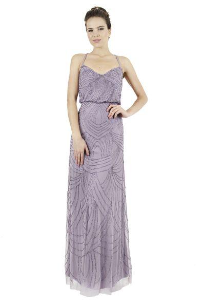 65d144aae ADRIANNA PAPELL Vestido color lavanda de tirantes bordado