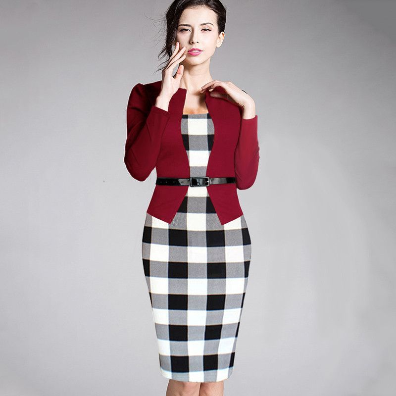 47a631b626979 Women Plaid Office Dress in 2019 | Sweetwater | Dresses, Fashion ...