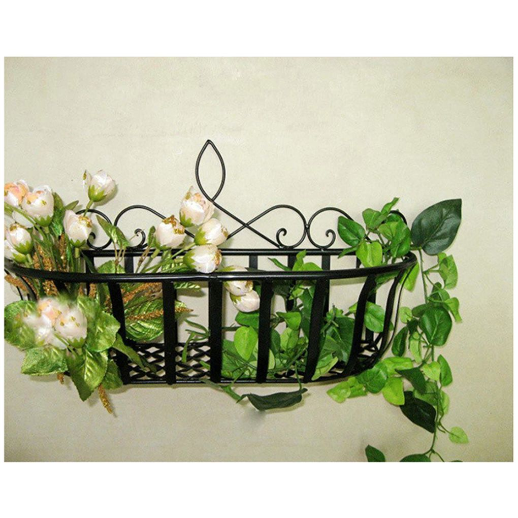 Home Decorated Iron Rack Hanging Bathroom Living Room Grocery Wall Rack Decorations Wall Plants And Flow Hanging Flower Wall Fence Decor Wall Planter