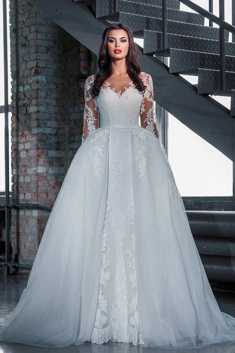 Price Tracker And History Of Amazing Lace Mermaid Removable Skirt Wedding Dresses Scoop Long Sleeve Detachable Bridal Gowns