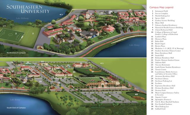 Southeastern University campus map seuniversity map southeastern