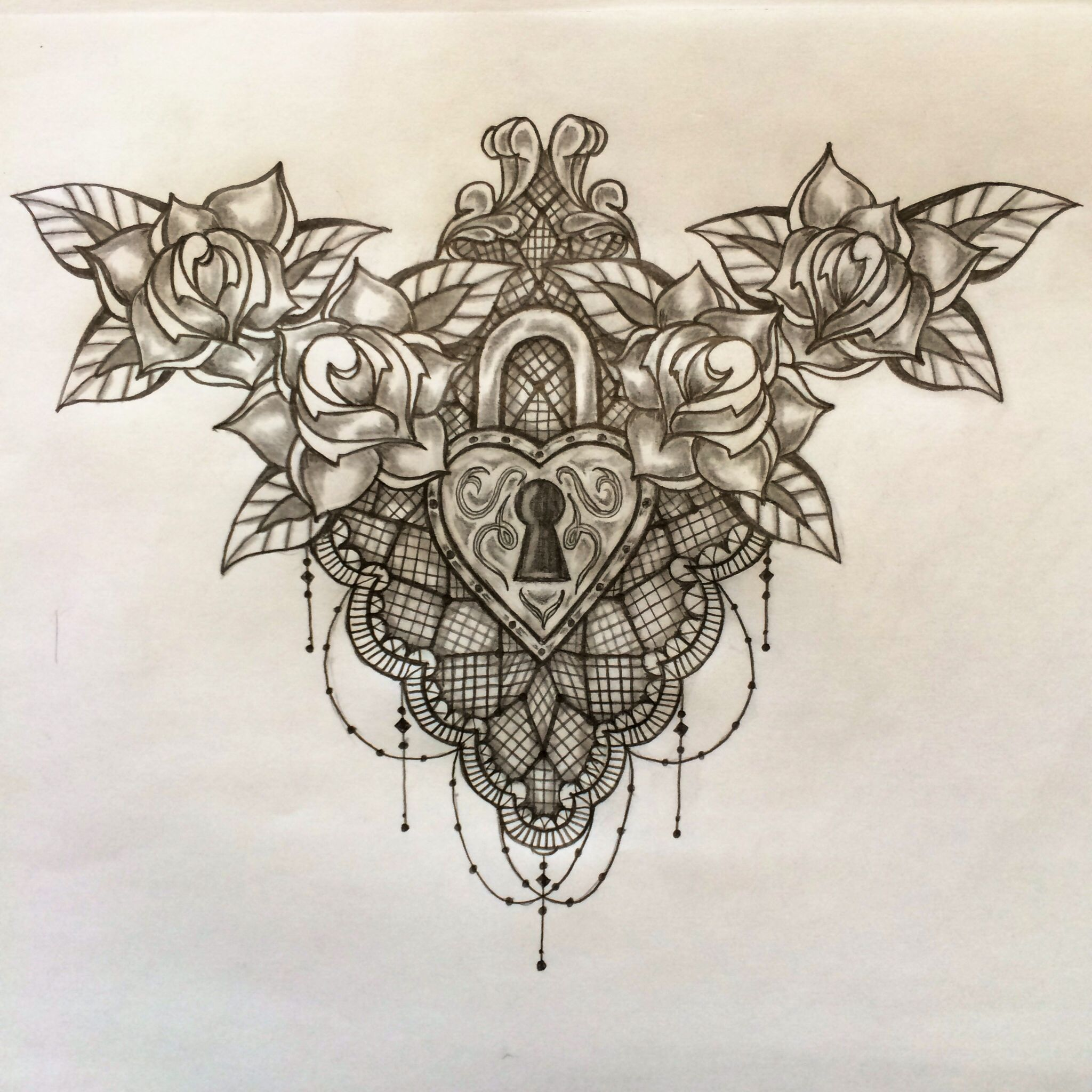Lock And Lace Chest Tattoo Sketch By Ranz Chest Tattoos For Women Chest Tattoo Sketches Lace Tattoo