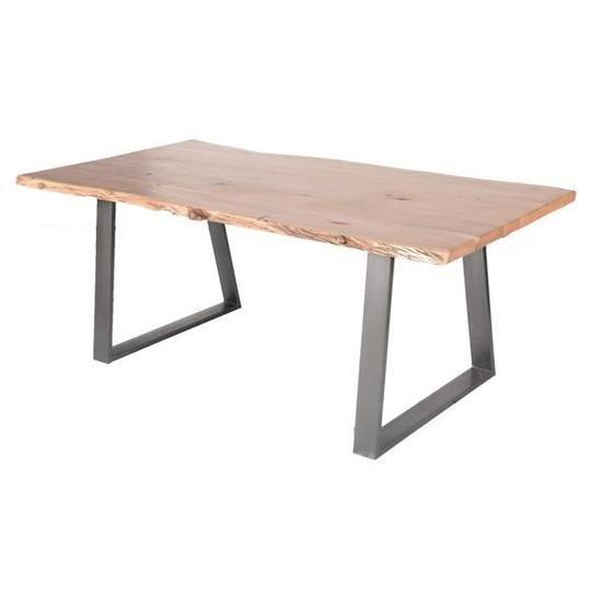 Table Pied Metal Et Bois Massif Naturel Zen Meuble House Marron Pied De Table Metal Meuble House Bois Massif