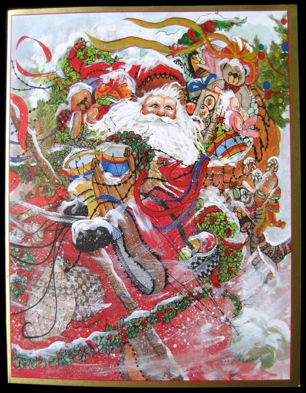 Vintage christmas greeting card here comes santa claus artist peggy vintage christmas greeting card here comes santa claus artist peggy abrams swiss ebay kristyandbryce Choice Image
