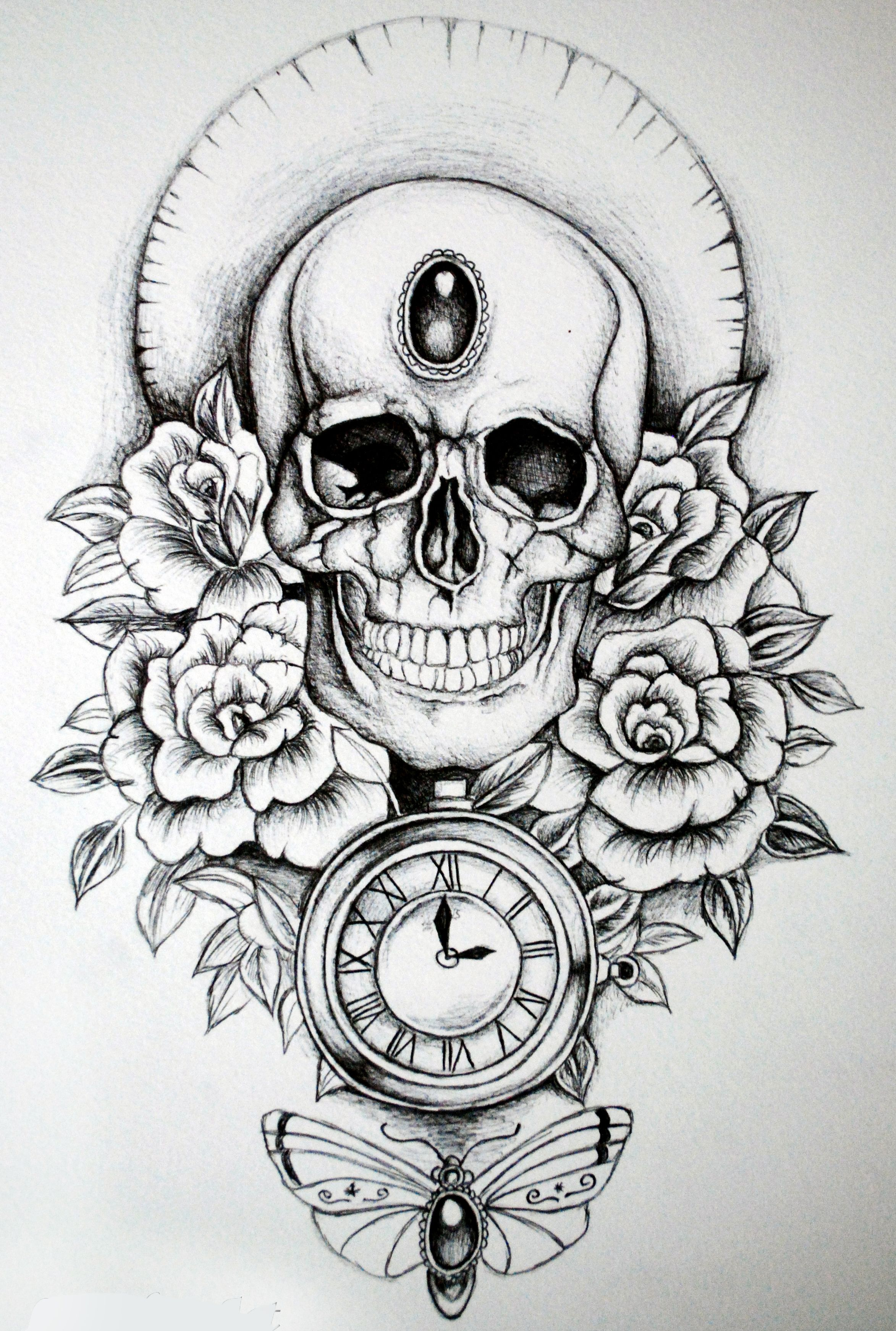 by Lowther | Watch tattoo design, Skull coloring pages