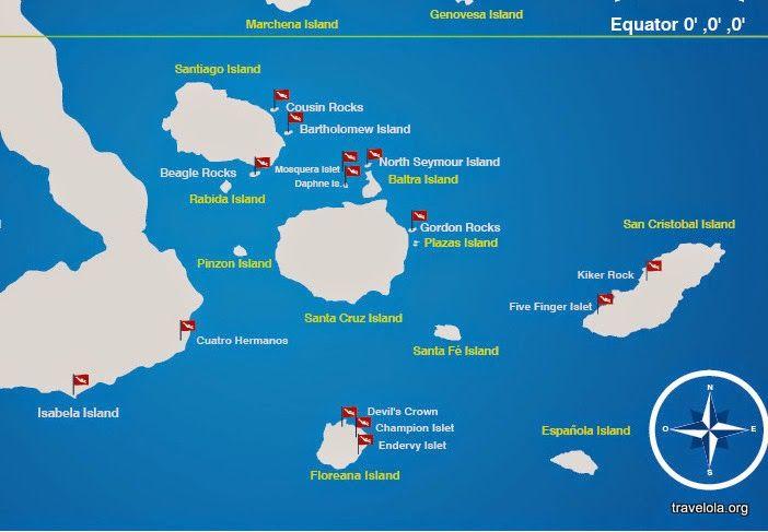 Galapagos On World Map.Diving Map Of The Galapagos Islands Showing Water Depth Galapagos