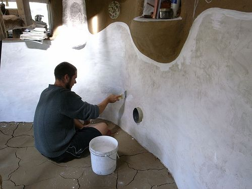 Lime Plaster And Lime Wash On Cob Or Straw Bale Wall Cob Building Earthship Home Cob House
