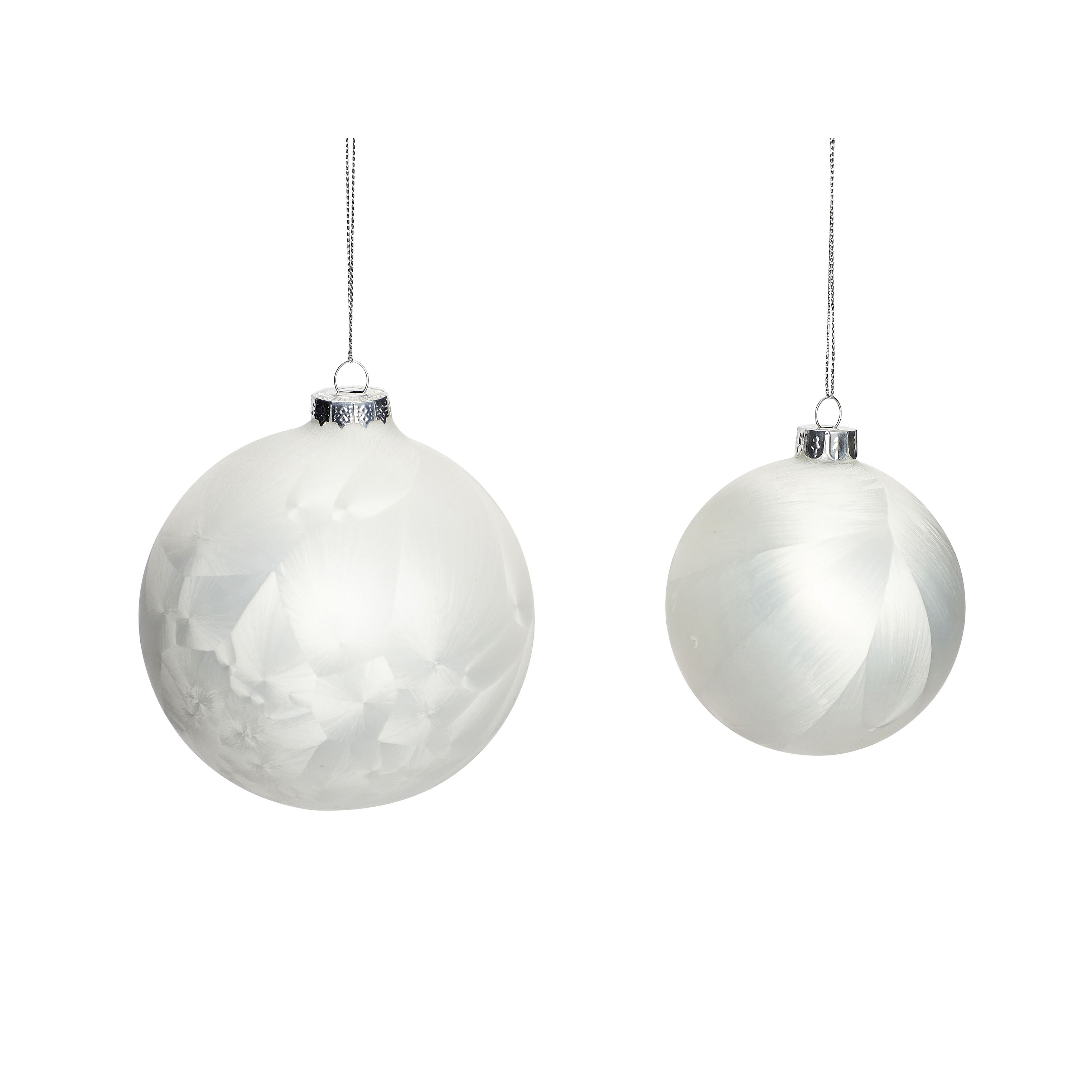 White glass Christmas balls in a set of 2. Product number: 350135 - Designed by Hübsch