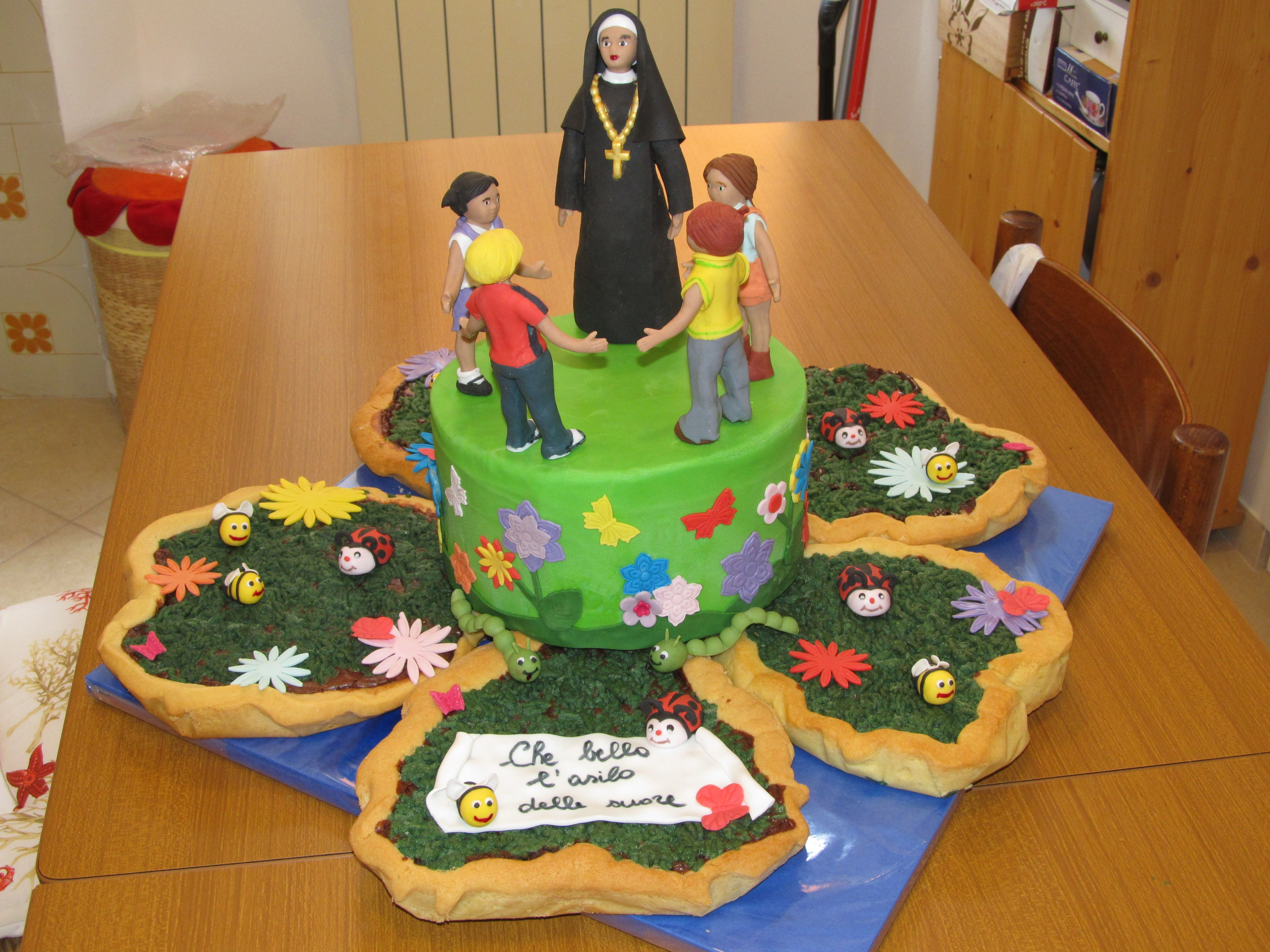Dolcetti Bambini ~ Cakedesign torta con suora e bambini cake design torta