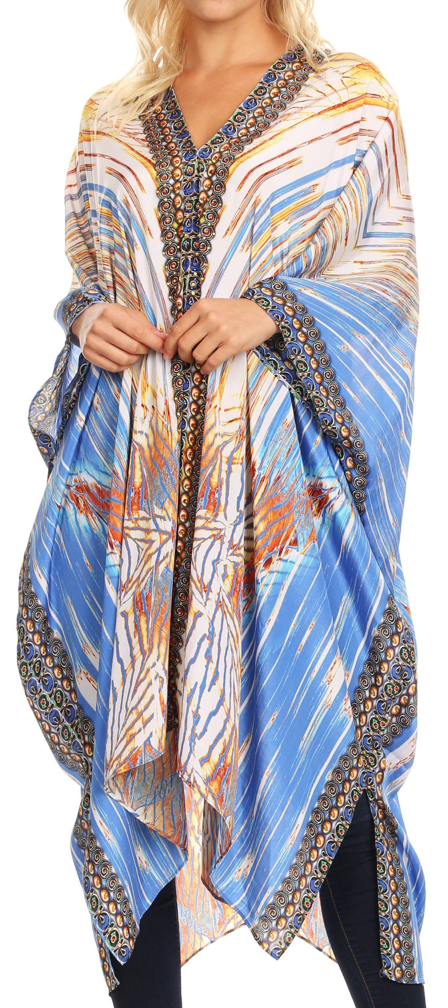 09599383d4e22 Sakkas Alvita Women's V Neck Beach Dress Top Caftan Cover up with  Rhinestones