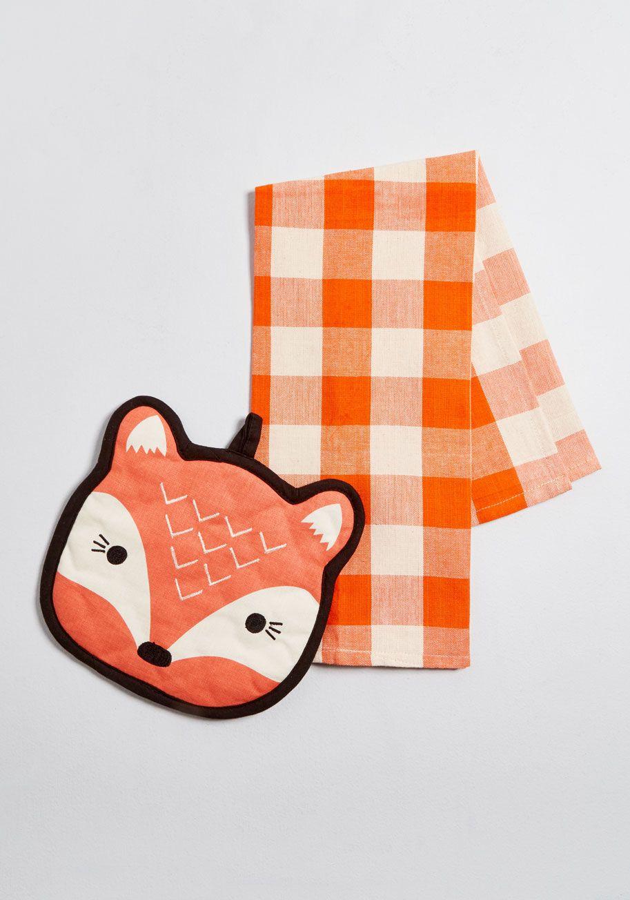Feast Expected Fox Tea Towel Set Tea Towel Set Tea Towels Quirky Decor
