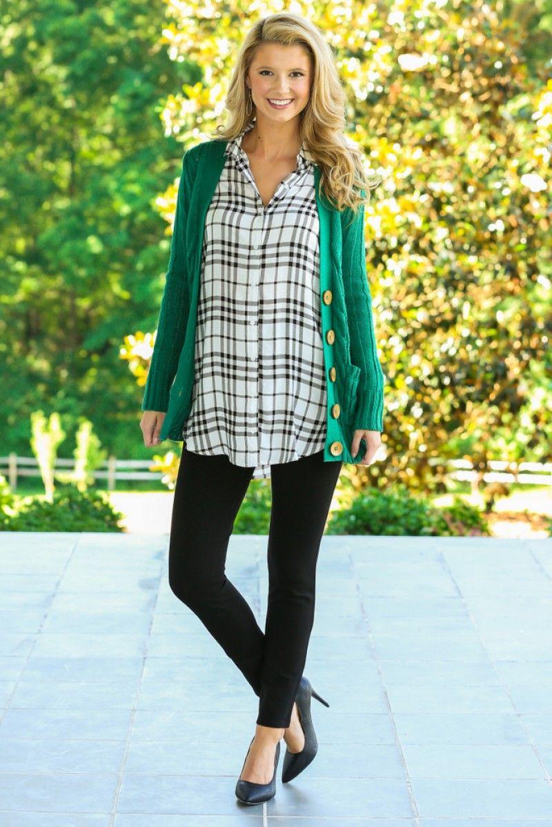 So cute! Black skinny slacks, plaid blouse, and emerald green cardigan- perfect for work!