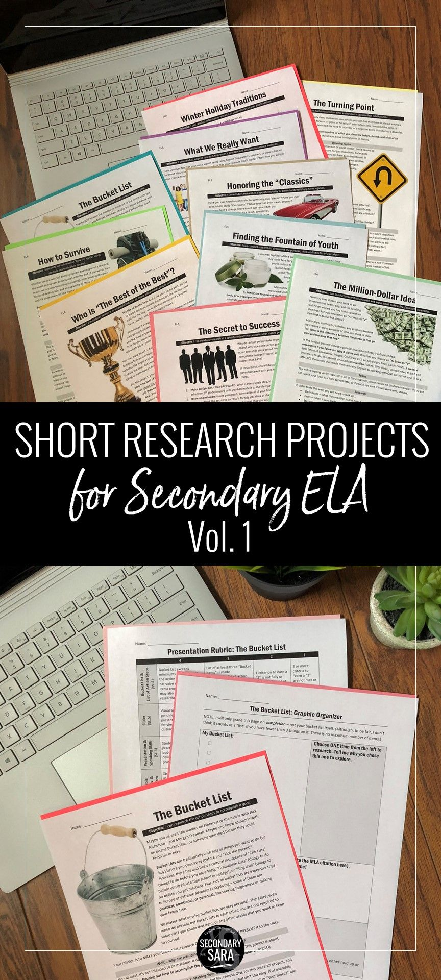 Short Research Projects 10 Project Ela Bundle Volume I Middle School Writing English Teacher High School Research Projects