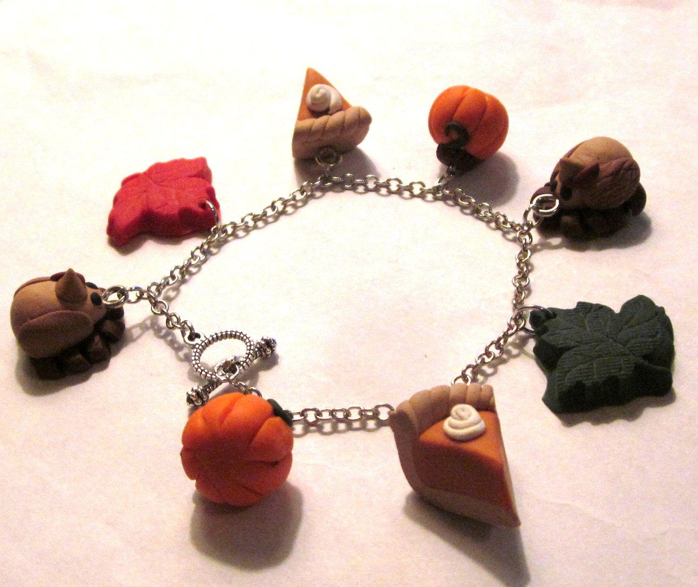 Polymer Clay Charm Bracelet: Thanksgiving Charm Bracelet