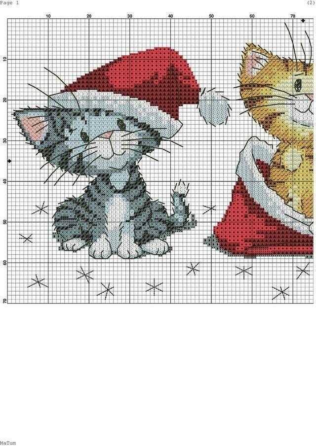 Christmas Cats (1) | Punto De Cruz | Pinterest | Punto de cruz ...