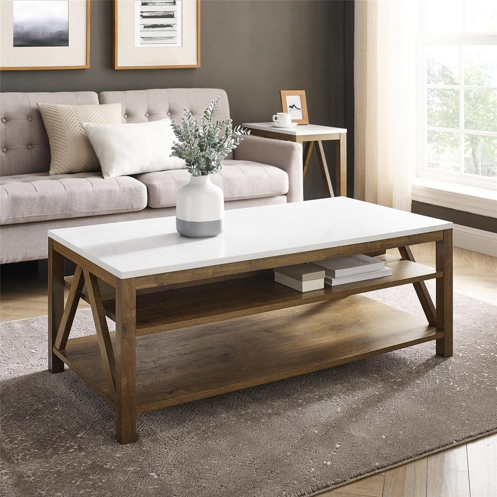 Welwick Designs 48 In Faux White Marble Natural Walnut Large Rectangle Wood Coffee Table With Shelf Hd8623 The Home Depot In 2021 Coffee Table Farmhouse Rectangle Coffee Table Wood Table Decor Living Room [ 1000 x 1000 Pixel ]