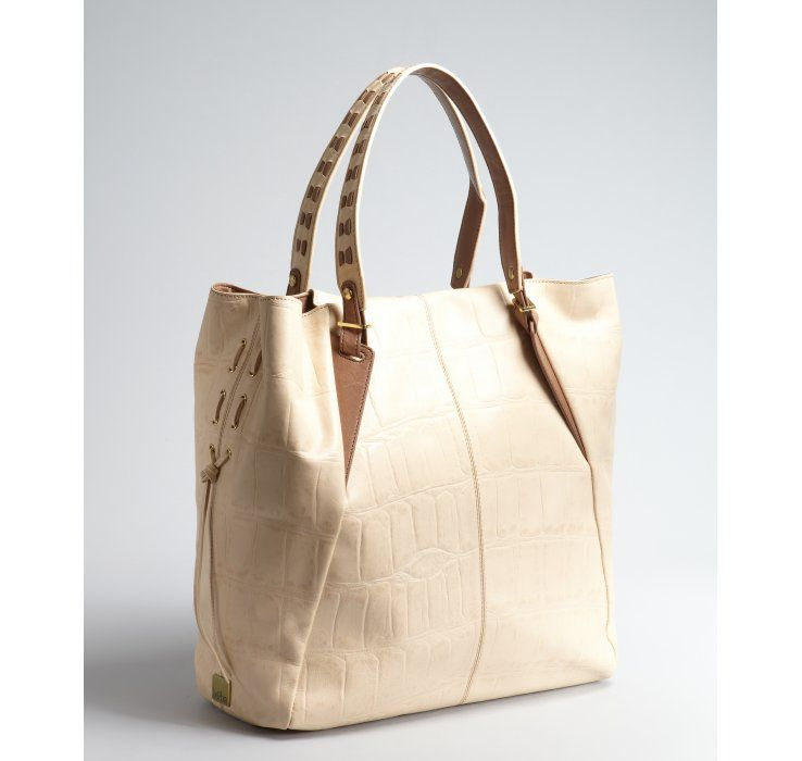 8e4b5e306b Kooba cream croc embossed leather  Orchard  whipstitched large tote ...