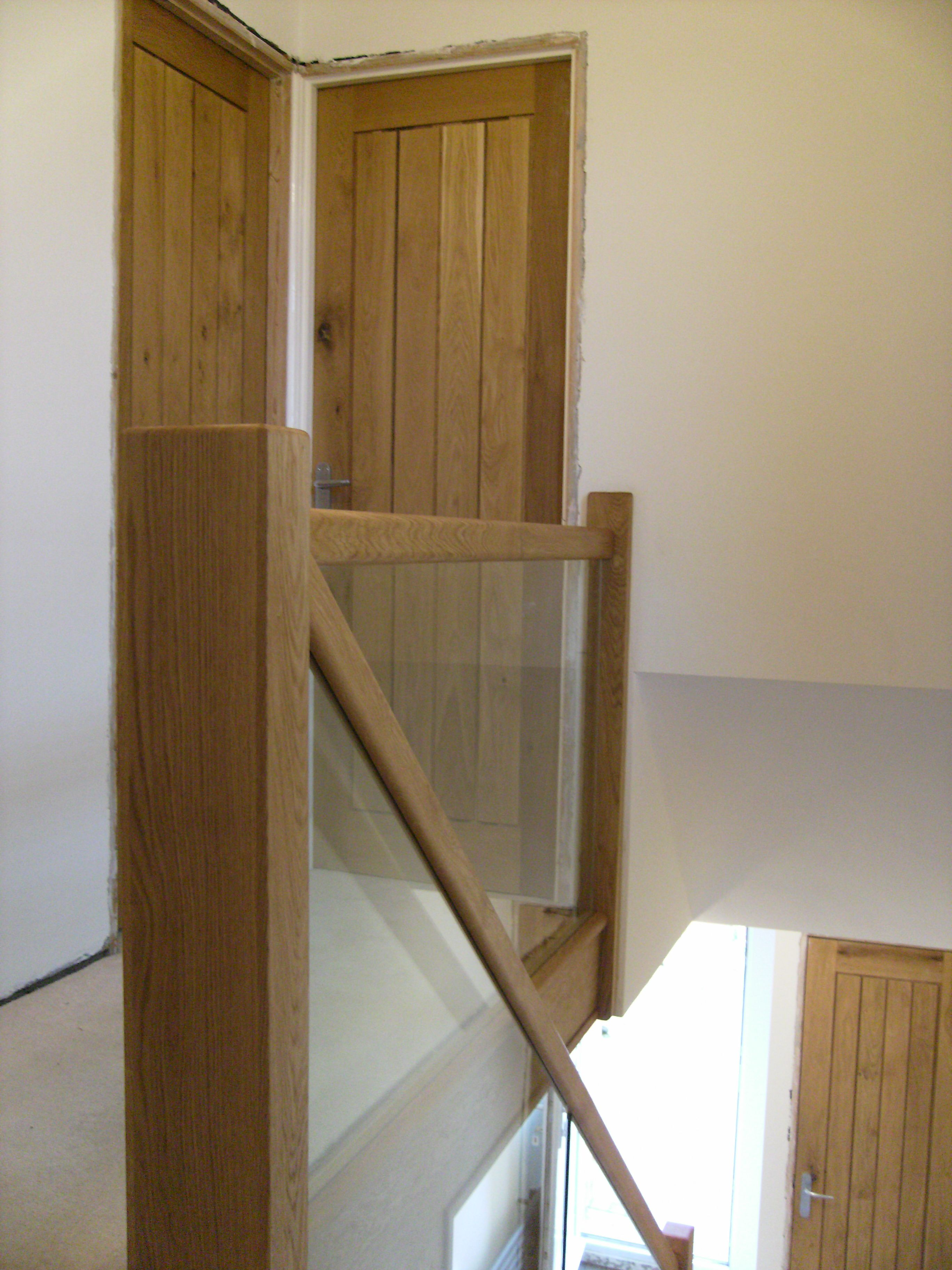Best Leicester Oak And Glass 5 Glass Stairs Glass 400 x 300