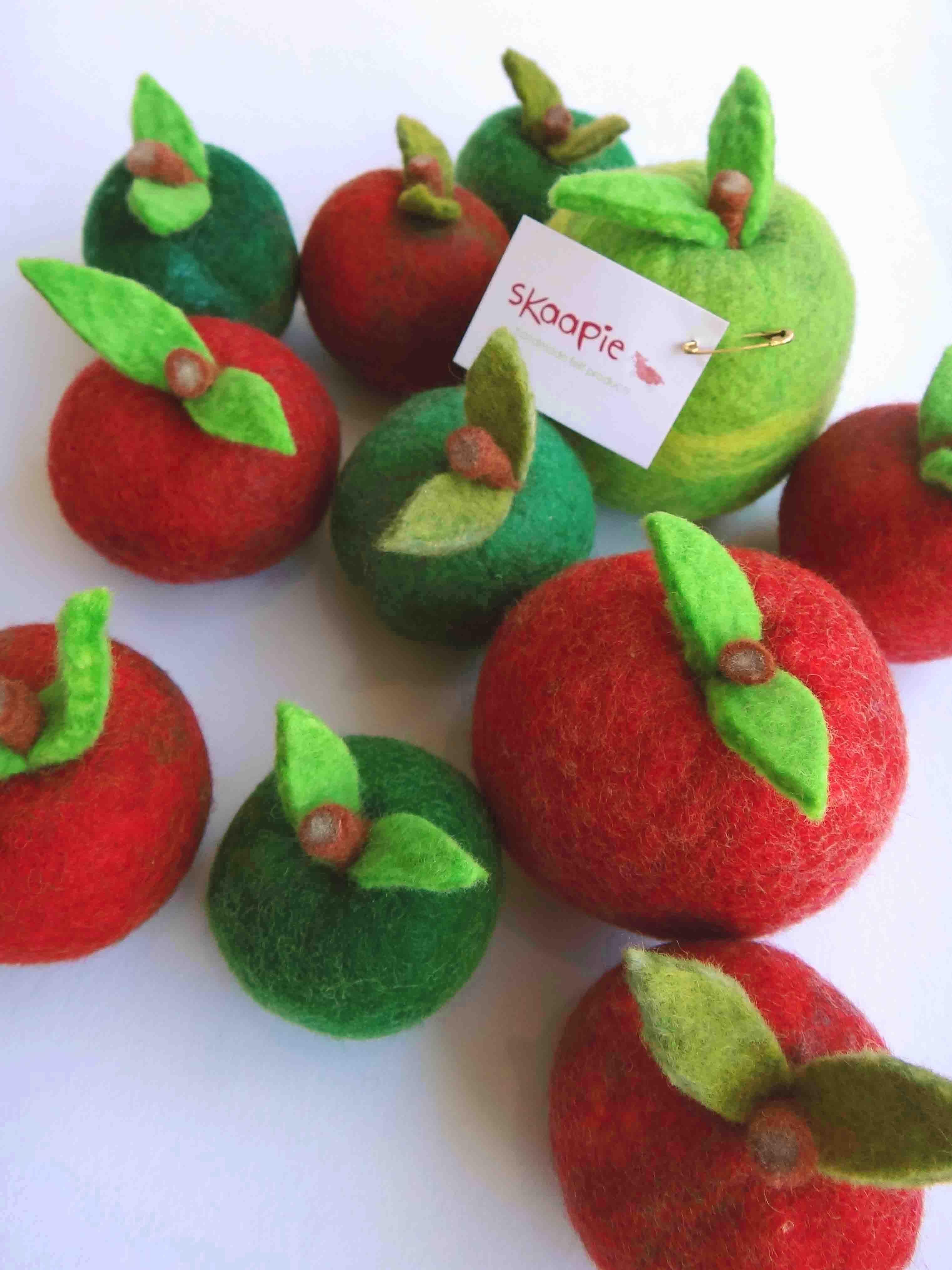 Handmade felt apples by Skaapie in KIN on Kloof, Cape Town