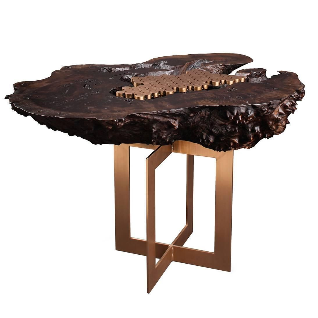 "Burl"" Side Table in Bronze and Smoked Walnut by Studio Roeper"
