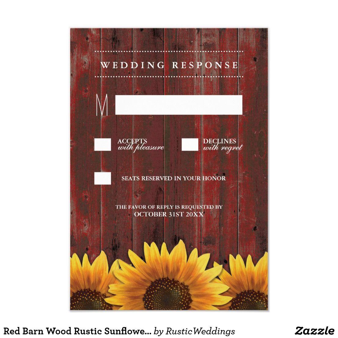 Red Barn Wood Rustic Sunflower Wedding RSVP Cards Zazzle