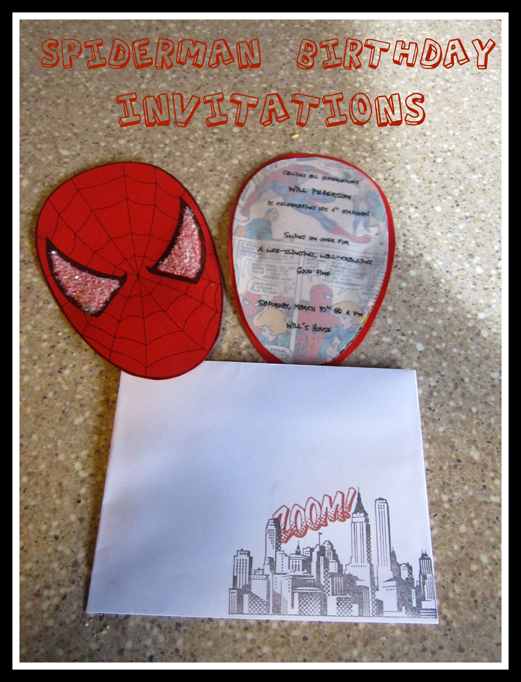 Spiderman Birthday Party ~ Part 1 ~ Invitations | Spider man ...