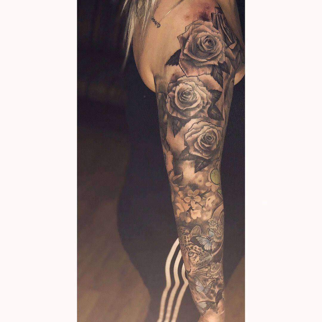 Fullsleeve Rose Rosetattoo Mmg Skull Butterfly Sleeve Tattoo Tiger Butterfly Sleeve Tattoo Half Sleeve Tattoo Half Sleeve Tattoos Color