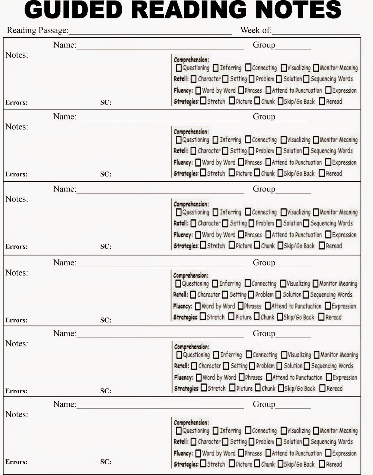Elle S Teaching Files Guided Reading Note Template