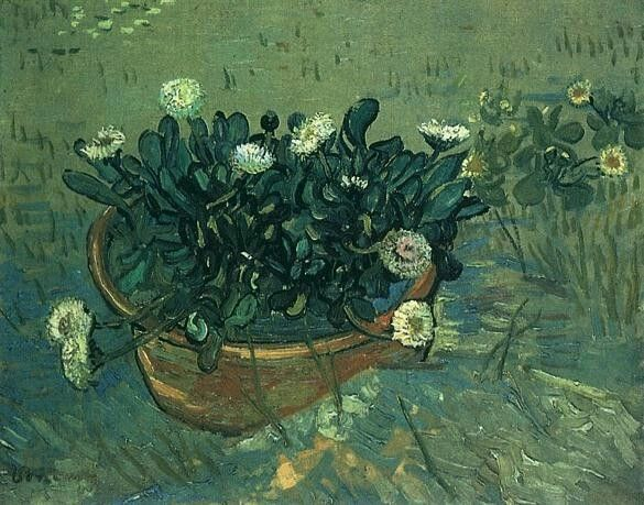 Still Life: Bowl with Daisies  Oil on canvas 33.0 x 42.0 cm. Arles: May, 1888 F 591, JH 1429  Richmond: Virginia Museum of Fine Arts