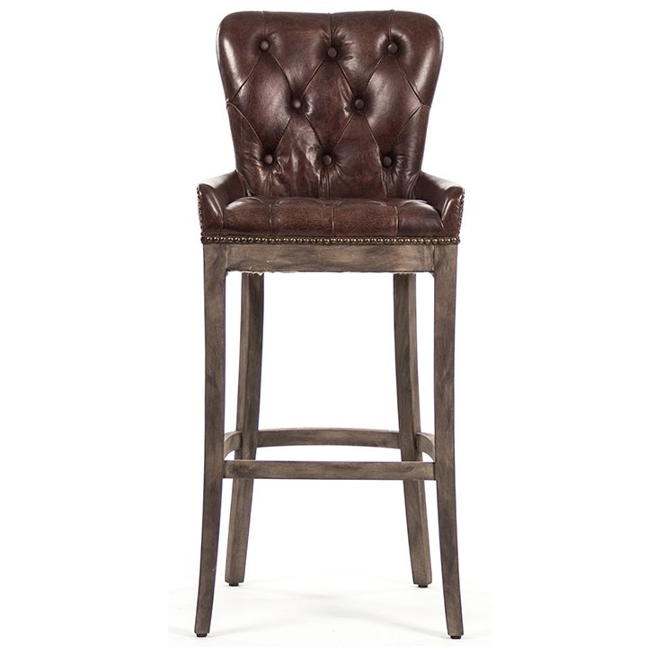 Tufted Leather Bar Stools Bar Stools Brown Leather Bar Stools