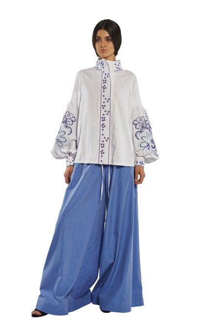 White & Blue Berry Colored Linen Blouse Berry_linen blouse YULIYA MAGDYCH Collection
