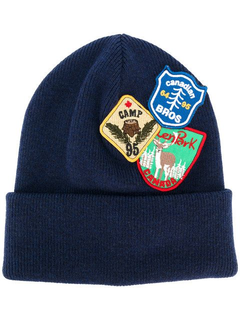 DSQUARED2 patch embroidered beanie hat. #dsquared2 #hat