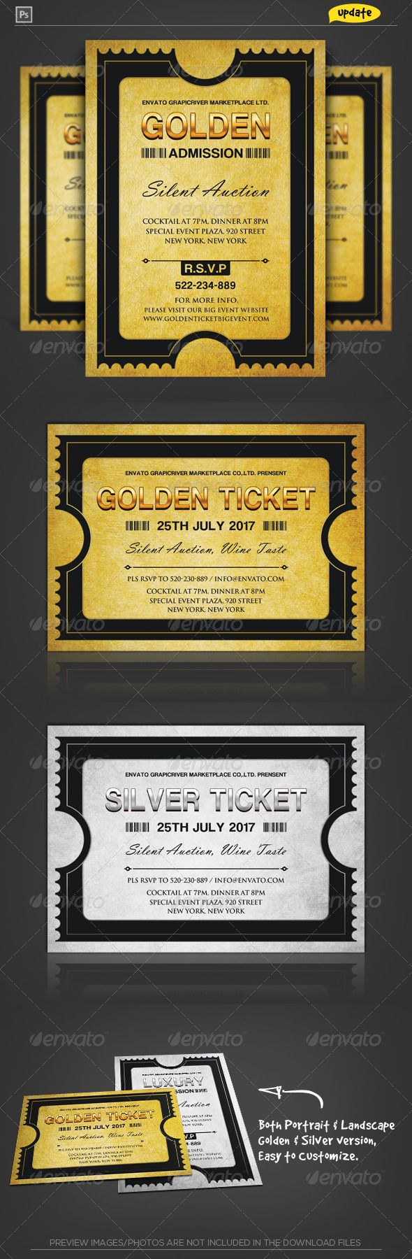 Golden Silver Ticket Corporate Invitation I — Photoshop PSD #modern #special • Available here → https://graphicriver.net/item/golden-silver-ticket-corporate-invitation-i/2064967?ref=pxcr