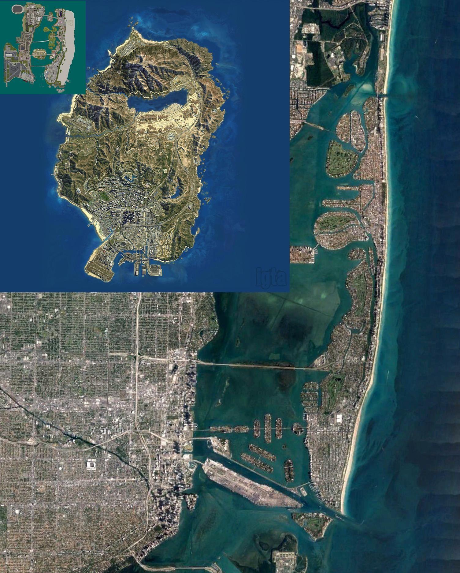 Size comparison of Vice City map GTA V map and Miami ...