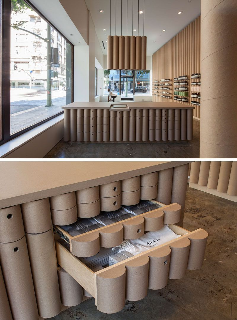 Modern store interior design ideas brooks scarpa designed this aesop retail store in downtown la that features 6 inch cardboard tube walls furniture