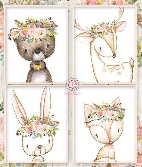 29 Best Corey Reagan Interiors Images On Pinterest: Bunny Bear Deer Fox Woodland Boho Wall Art Print Bohemian