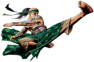 Male monk with tattoo